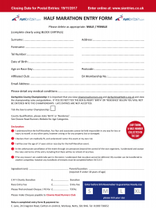Clowne Half Marathon Entry Form