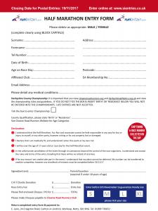 Clowne Half Marathon Entry Form